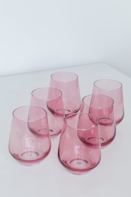 Estelle Colored Glass Stemless Wine Glasses - Rose