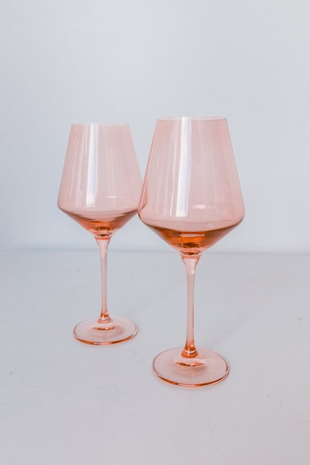 Estelle Colored Glass Wine Glasses - Blush Pink