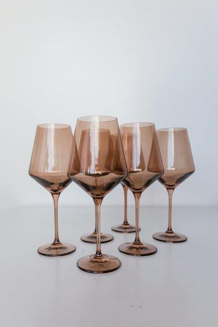 Estelle Colored Glass Wine Glasses - Amber Smoke