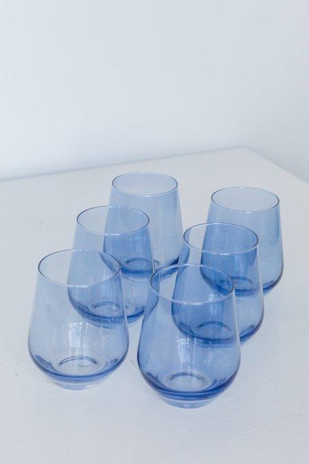 Estelle Colored Glass Stemless Wine Glasses - Cobalt Blue
