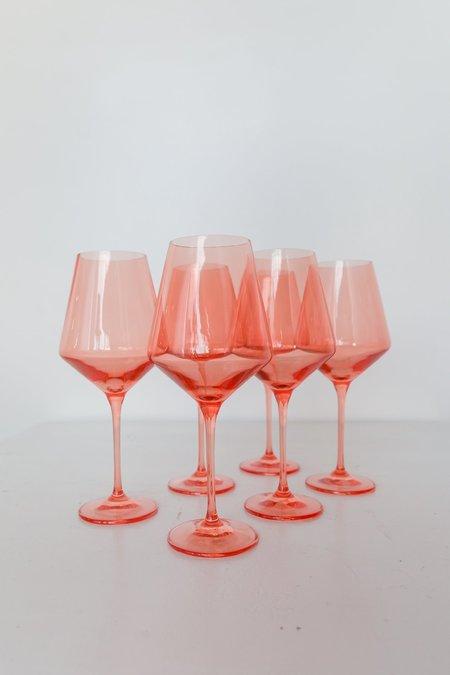 Estelle Colored Glass Wine Glasses - Coral Peach Pink