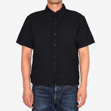 Momotaro Jeans Jacquard Paisley Pattern Shirt - Black