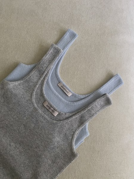 Parentezi Cashmere Fitted Tank Top - Grey