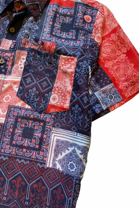 Raga Man Bandana Print SS Button Down - Navy/Red
