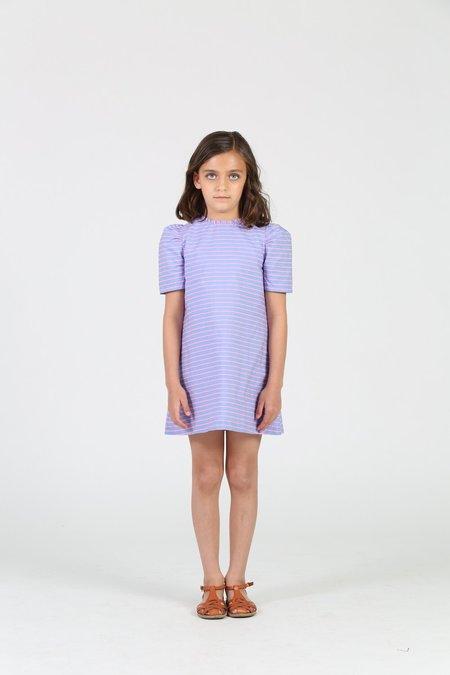Kids Little Olin Balloon Sleeve Stripe Dress - Blue/Pink