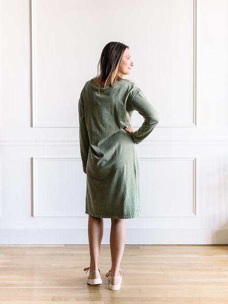 promesa Mineral Washed Midi Dress - Green