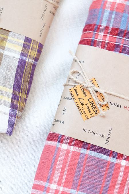 Ichi Antiquités Linen Turtan Check Table Cloth