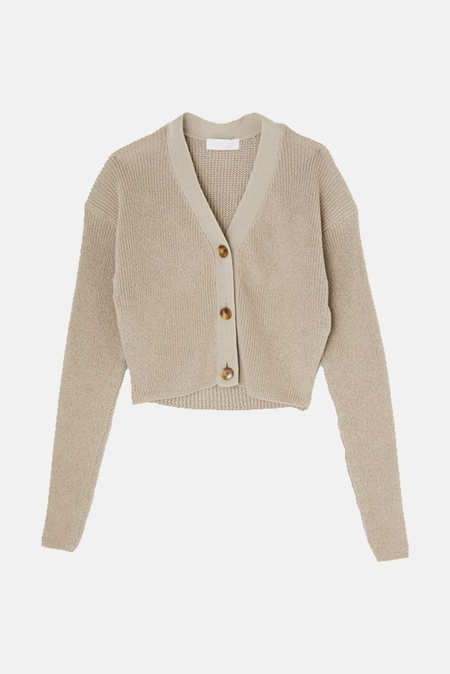 Moussy Vintage Rib Stitch Cardigan Sweater - Beige