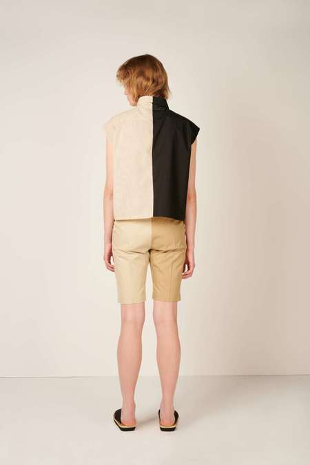 MM6 Maison Margiela Asymmetric draped shirt - Black/Beige