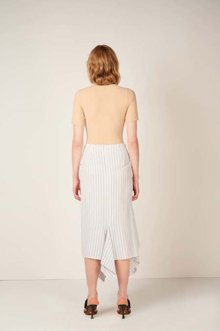 MM6 Maison Margiela Asymmetric striped midi skirt - White/Blue
