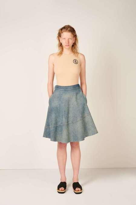 MM6 Maison Margiela Flared denim skirt - Blue