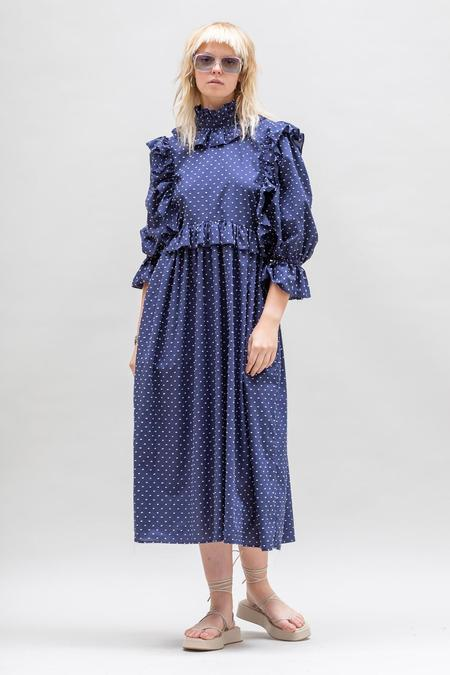 Toit Volant Ruffle Crazed Detachable Collar Dress - Navy/White