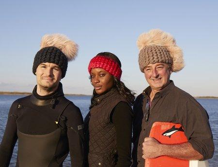 Mischa Lampert  xl poms beanies - Pink pohawk/arctic pink