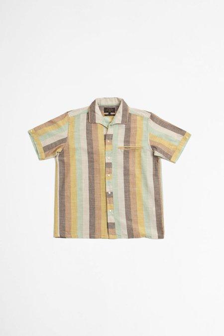 Beams Plus Italian collar slab multi stripe shirt - brown