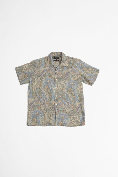 Beams Plus Open collar linen shirt - paisley blue