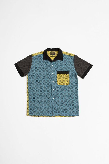 Beams Plus Open Combination Collar Takashimi Chijimi Print Panel Shirt