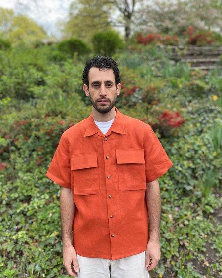 Tony Shirtmakers BDU Camp Shirt - Blood Orange