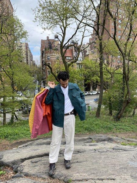 Tony Shirtmakers Linen Drawstring Chore shacket - Deep Forest