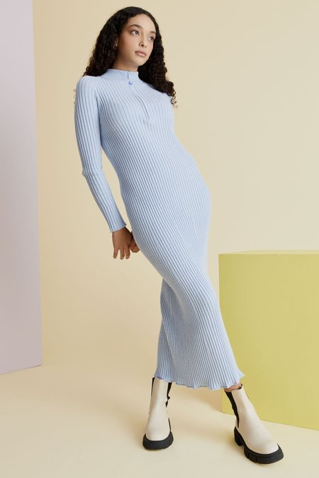 hej hej Zippy Knitty Knit Dress - Sky Blue