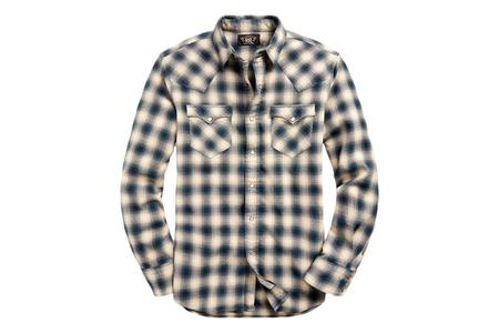 RRL Slim Fit Plaid Brushed Western Shirt - Cream/Grey