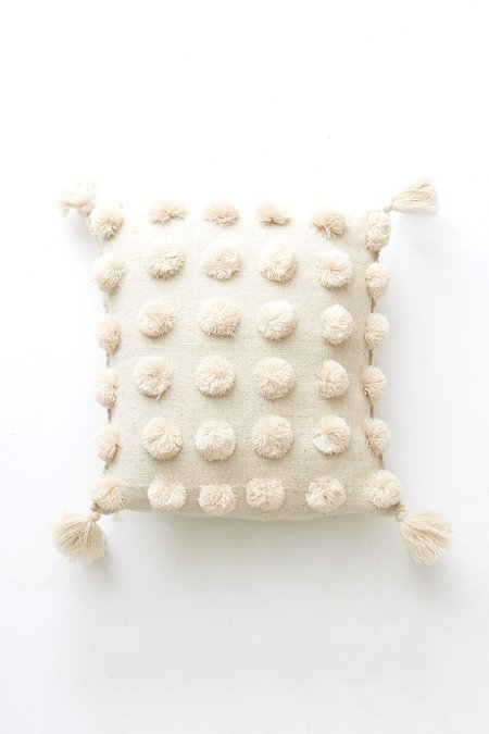 Mabel and Moss Pom Pom Pillow - cream