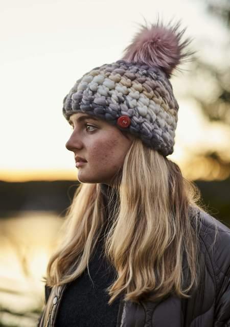 Mischa Lampert XL pom soft stripe beanie - Arctic pink