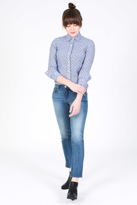Vert & Vogue Button down shirt in blue floral
