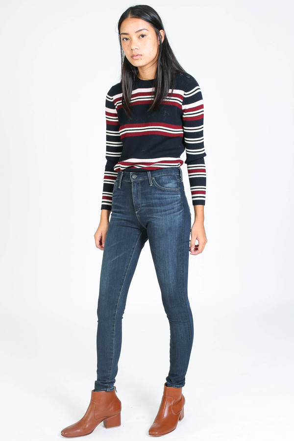 Chinti and Parker Rib Striped Sweater in navy