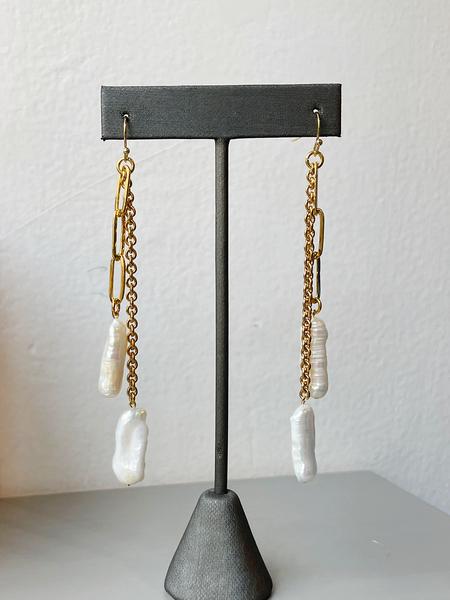 Sandy Hyun Double Chain Pearl Dangle Earrings
