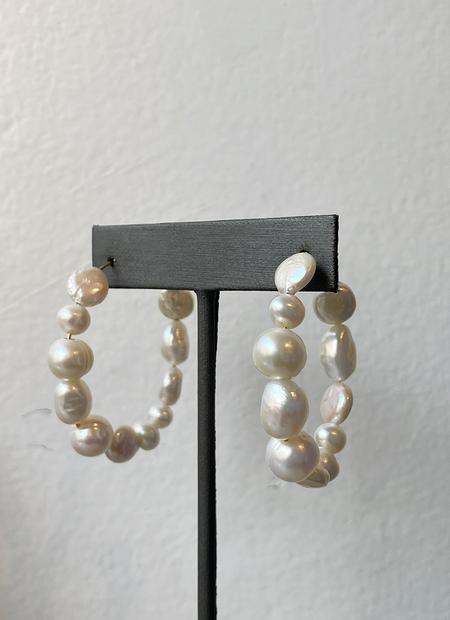 Sandy Hyun Pearl Hoop Earrings