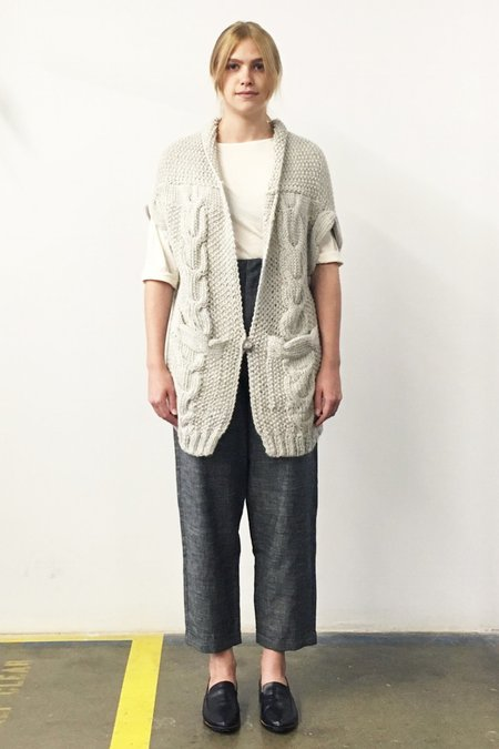 Study NY Hand Knit Alpaca Vest - Oatmeal