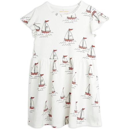 Kids mini rodini sailing boats allover wing sleeve dress - white