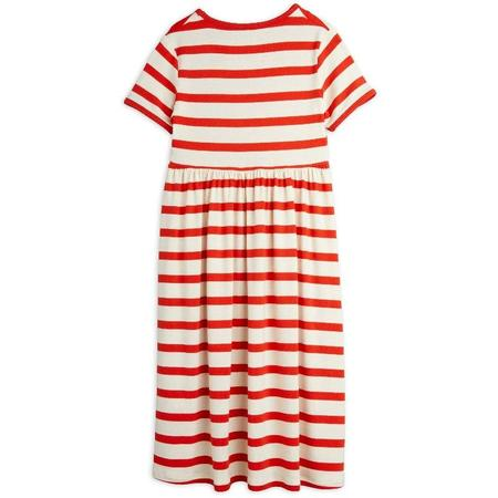 Kids mini rodini stripe short sleeve dress - red