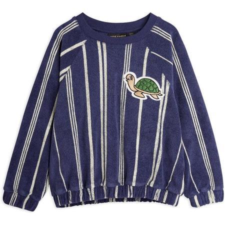 Kids mini rodini turtle terry sweatshirt - navy