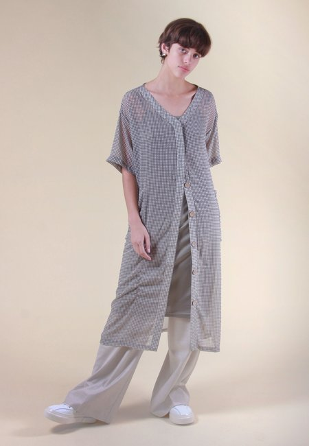 Native Youth Oversized Maxi Dress - gingham green