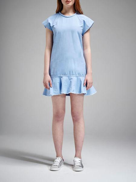 NICHOLAS Cotton Canvas Bias Dress - light blue