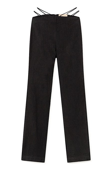 Paloma Wool Amber Linen Cotton Strappy Waist Pants - Black