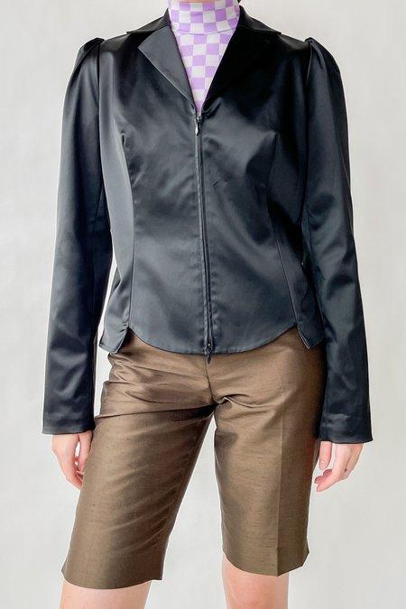 Vintage Anne Fontaine Satin Puff Sleeve Jacket - black