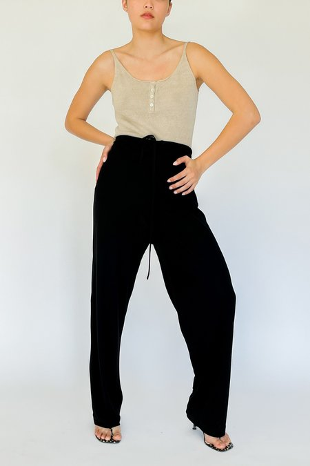 Vintage Jersey Knit Drawstring Pants - black