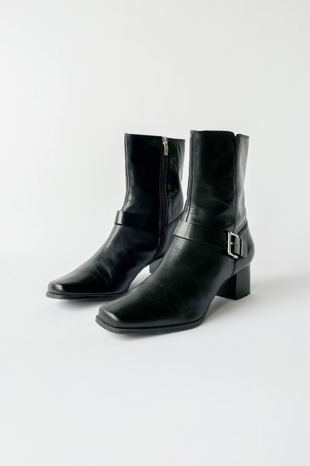 Vintage Leather Buckle Ankle Boots - black