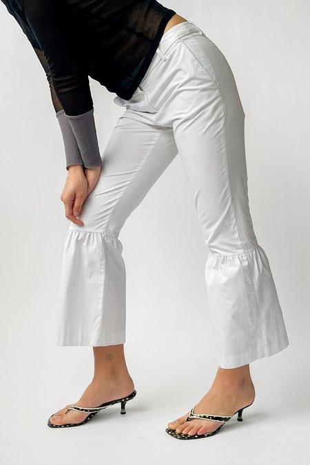 Vintage Dries Van Noten Low Rise Ruffle Pants - White