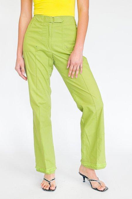 Vintage Mid Rise Fringe Pants - Lime