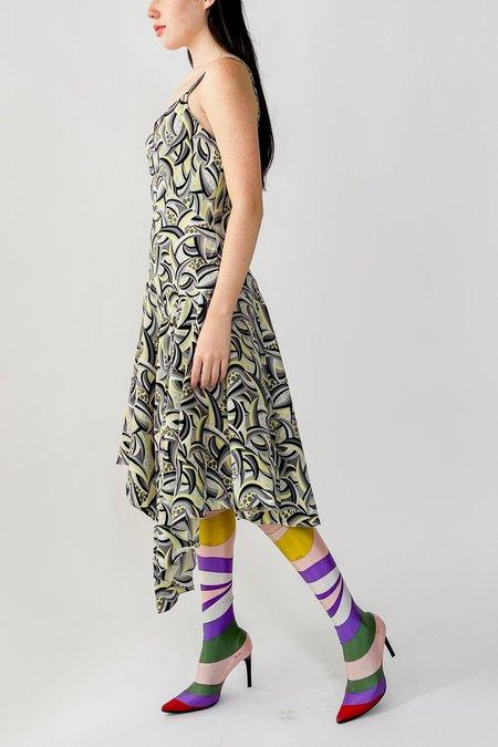 Vintage Silk Bias Cut Dress - Op Art Print