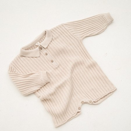 Kids Illoura the Label Essential Rib Knit Romper - Biscuit