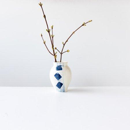 Mariejosée Desjean Porcelain Vase - white/Blue