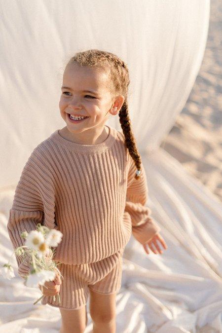 kids unisex Illoura the Label Essential Rib Knit Shorts - Strawberry