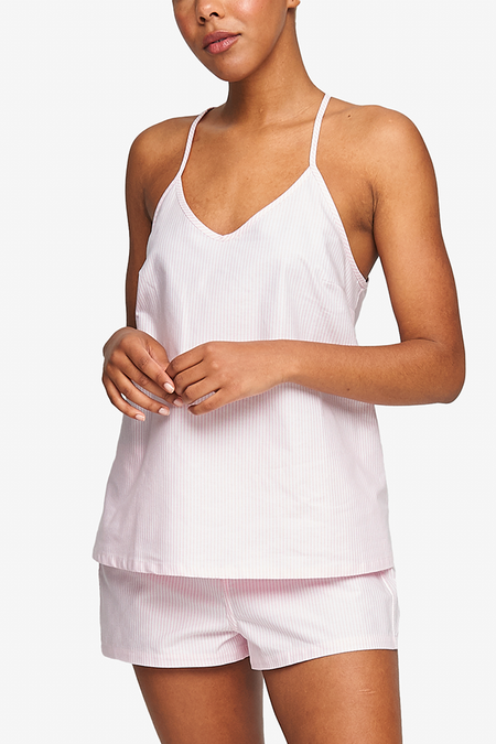 The Sleep Shirt Oxford Stripe Classic Camisole - Pink