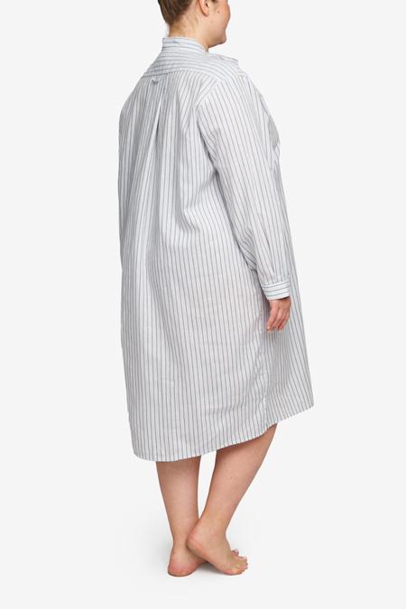 The Sleep Shirt Plus Size Linen Blend Long Sleep Shirt - Navy Stripe