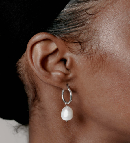 Wolf Circus Small Pearl Hoops - Silver
