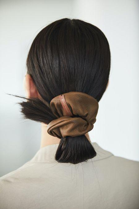 Janessa Leone Leather Scrunchie - Brown